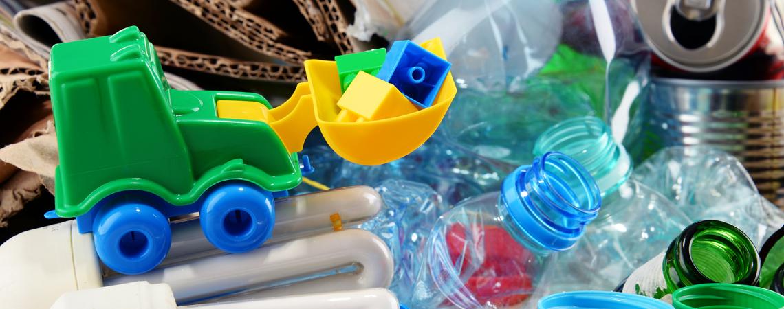 plastic toys in bin