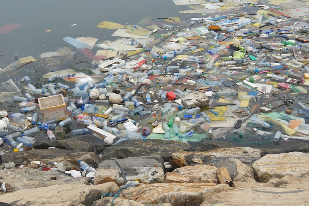 plastic pollution in a in river