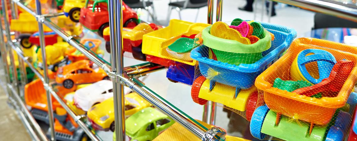 plastic toys on shelf